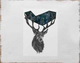 Night Sky Animal Stag Print -- Watercolour Illustration // Limited Edition Constellation Star Art