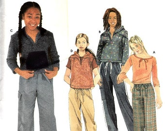 Girls Pull On Drawstring Capris Pants Top Hoodie Pattern Size 7 - 16 Easy to Sew Simplicity 9343 Sewing Pattern Uncut Factory Folds
