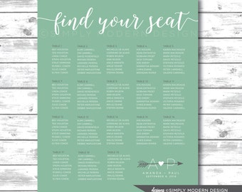 wedding seating chart, arrows, dinner, table number, alphabetical, PRINTABLE