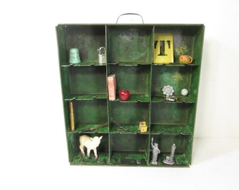 Metal Divided Drawer Wall Cubby Shelf Industrial Salvage