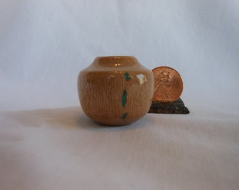 Mini #Maple Vessel With Turquoise Accents #0010