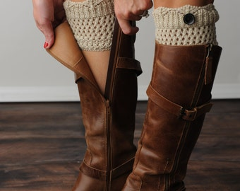 FREE SHIPPING! Oatmeal Boot Cuffs, Boot Socks, Brown Boot Cuffs, Knit Boot Cuffs, Leg Warmers, Boot Toppers