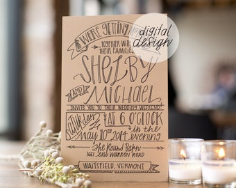 48 Hour Turnaround: DIGITAL Wedding Invitation; Custom; Vintage; Hand Lettered; Illustration; Unique; Outdoor; Barn; Invitation; Recycled