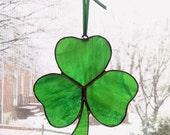 Shamrock Stained Glass Suncatcher - Irish Decor - St. Patrick's Day Decoration - Irish Gift - Clover - Irish Ornament - Green Glass
