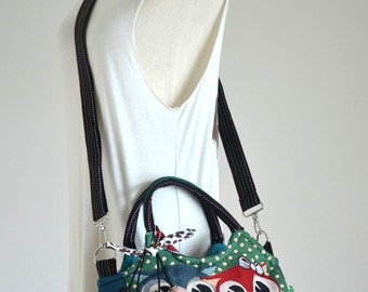 Vintage Hippie Style Handbag Owl Crossbody Bag Boho Hobo Bag Shoulder Bag Sling Messenger Bag Chic Purse, Family Owls (Green Polka Dot)
