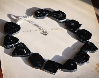 Black Tourmaline Slab Necklace