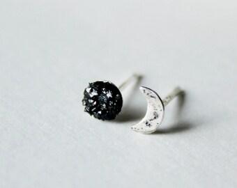 Moon earrings,Moon phase earrings,black tourmaline earrings,Dainty earrings,sterling silver,crescent moon earrings,raw stone earrings mens