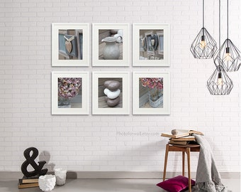 Bathroom Decor Set Of 6 Photographs Bathroom Art Pink Grey Bathroom Decor Vintage