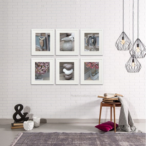Bathroom decor set of 6 photographs bathroom art pink grey for Pink and grey bathroom decor