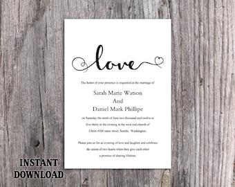 DIY Wedding Invitation Template Editable Word File Instant Download Printable Invitation Black & White Invitation Elegant Heart Invitation