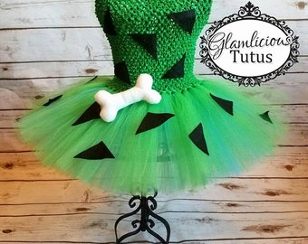 Pebbles tutu dress with bone hair clip  | tutu dress | Halloween costume| Newborn- child size 8/10 listing