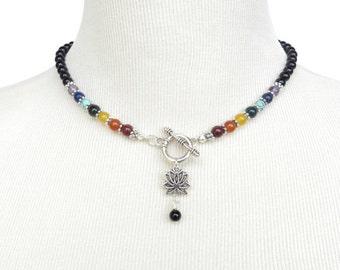 Lotus Chakra Nekclace Yoga Jewelry Chakra Jewelry Gemstone Bohemian Necklace Buddhist Reiki Meditation Energy Jewelry Birthday Unique Gift