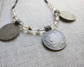 Coin Necklace,Ethnic Necklace,African Necklace,Boho Necklace,Tibetan Silver Necklace,Tribal Necklace Silver,Silver Tribal NecklaceBoho
