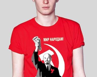 Lenin holding Pravda Newspaper Soviet Propaganda Red Political T-shirt.