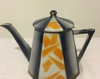 French Art Deco Vintage Enamelware Teapot Rare