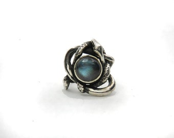 Entwined Serpents Ring - Silver Statement Ring - Two Snakes Ring - Occult Ring - Labradorite Ring - Witch Ring - Serpent Jewelry