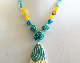 Boho Turquoise & Primrose Yellow Flower Garden Beaded Necklace with Artisan Flower Pendant Girlfriend Gift for Women by WestportCharm