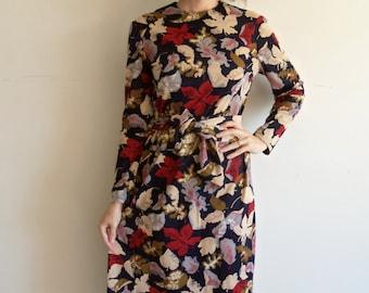 Vintage Navy Fall Colors Leaf Dress