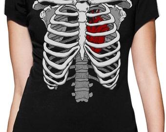 Halloween Skeleton Rib Cage Heart Costume - Women's Short Sleeve T-Shirt