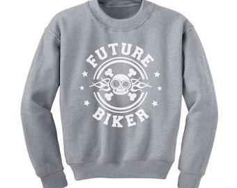 Future Biker Skull Kids-Youth Sweatshirt