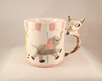 Vintage Milk Cup Ceramic Children's Deer or Fawn  ALL GONE carousel mug Made in Japan