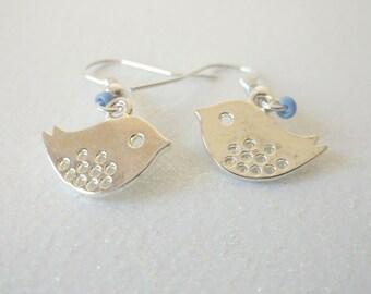 Silver Earrings, Love Birds Earrings, Bird Jewelry, Silver Dangle Earrings, Periwinkle Blue Earrings,  Bird Earrings, Delicate Jewelry, Mom