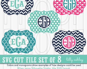 Monogram SVG Files Set of 8 cutting files {SVG/JPG formats}! Commercial use ok! svg monogram chevron svg whale svg {no letters included}