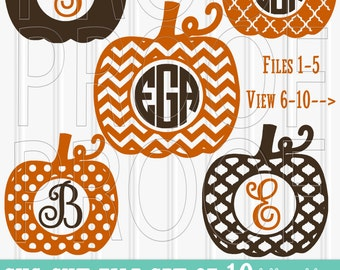 Pumpkin SVG File Set of 10 cutting files includes svg/png/jpg formats! Half price limited time! monogram svg pumpkin {no letters included}