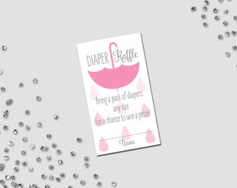 Diaper Raffle Ticket - Umbrella Baby Shower - Hanging Umbrella and Rain Drops - Pink and Grey - INSTANT DOWNLOAD - Printable