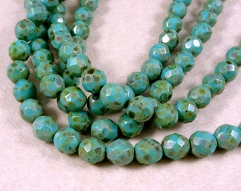 Czech Beads, 8mm Czech Glass Fire Polished Beads - Turquoise Picasso (FP8/SM-T6313) - Qty 25