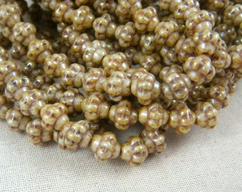 Czech Beads, Czech Glass Beads - Beige Luster Picasso (SAT/RJ-2527) - 6mm Saturn - Qty. 25