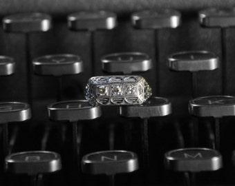 Vintage Three Stone Diamond Engagement Ring, 1940s Wedding Ring, White Gold Engagement Ring, Ladies Diamond Ring