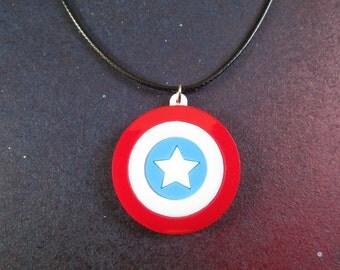 Captain America Shield Pendant Necklace Steve Rogers Avengers Cosplay Civil War