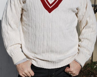 Cricket/ Tennis Sweater; Cable Knit V Neck Pullover.