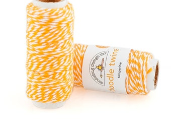 "Doodlebug ""Tangerine"" Bakers Twine - 20 yards Yellow-Orange - 100% Cotton -  Crafting Scrapbooks Gift Wrap Banners"