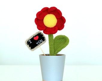 PATTERN: Heart Shaped Flower, amigurumi crochet flower, Gift Keepsake Amigurumi Crochet Pattern