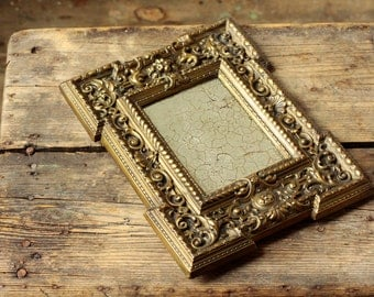 Antique Distressed Mirror - Aged Glass and Brass Frame