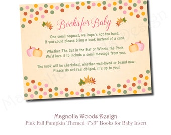 Books for Baby Insert, Bring a Book Request, Fall Baby Shower, Girls Little Pumpkin Baby Shower, Baby Shower Insert - Printable File