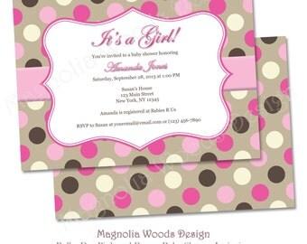 Girls Baby Shower Invitation, Girls Polka Dot Pink and Brown Baby Shower Invitation - Printable Digital File