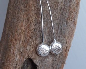 Silver drop earrings, silver dangle pebble drop earrings handmade from argentium silver  by ARC Jewellery UK