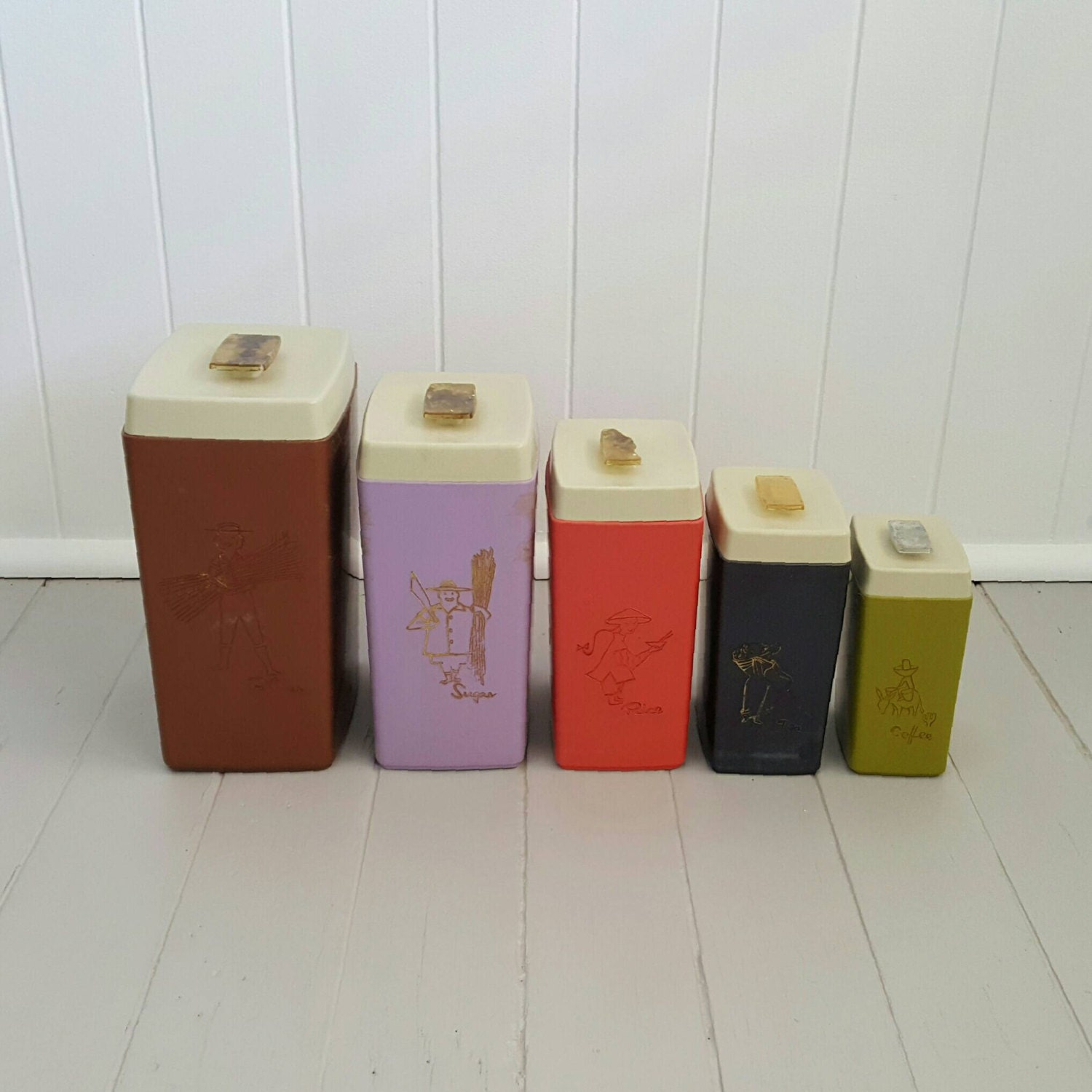 vintage kitchen canister set retro colours