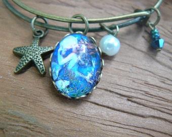 mermaid bracelet mermaid bangle bracelet siren bracelet beach bracelet  charm bracelet boho boho chic  hippie festival gypsy