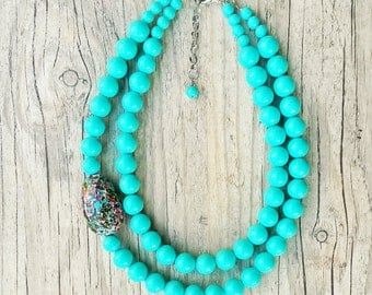 Double strand turquoise necklace, Light blue statement necklace, Two strand statement necklace, Summer necklace, Turquoise beaded necklace