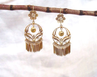 18K Gold Filigree Earrings - Antique Frida Kahlo Style All Gold Hand Rendered Gypsy Dangle Earrings