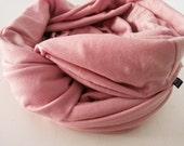 Pink Infinity Scarf Pastel Blush Jersey Knit Chunky Shawl Solid Handmade