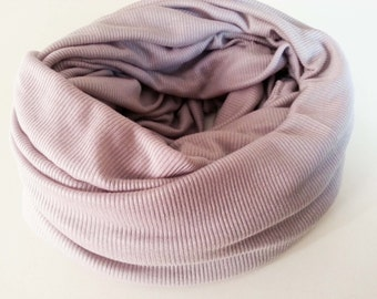 Pastel Mauve Infinity Scarf Women Ribbed Knit Circle Loop Grape