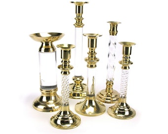 LOT of 6 Vintage Lucite Brass Candlestick Candleholders - Hollywood Regency Mid Century Gold Clear Candle Holder Mantel Table Wedding Decor