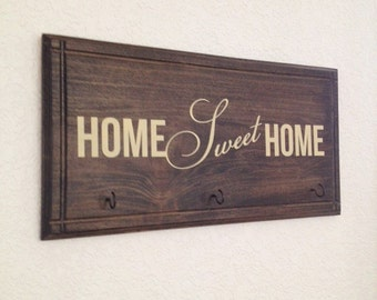 Handmade Home Sweet Home Plaque with hooks for keys, scarf, ribbon even a sweeter Holder -Home Decor Wood Sign Realtor closing Gift 22x11