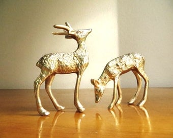 Vintage Brass Deer Figurines, Brass Doe and Buck, Deer Family, Woodland Brass Animal, Reindeer Statues, Pair, Couple
