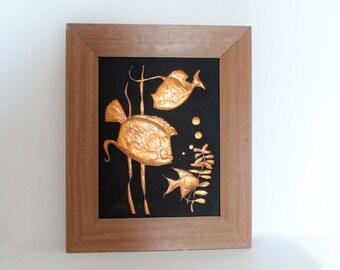 Vintage Copper Art, Copper Relief,  Featuring Fish, Underwater Design
